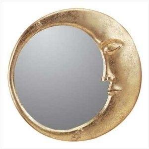 gold celestial decor | Gold Finish Celestial Moon Face Wall Mirror Home Decor - Polyvore