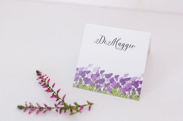 Perfect lavender place card.   Kwadratowa winietka z motywem lawendy.