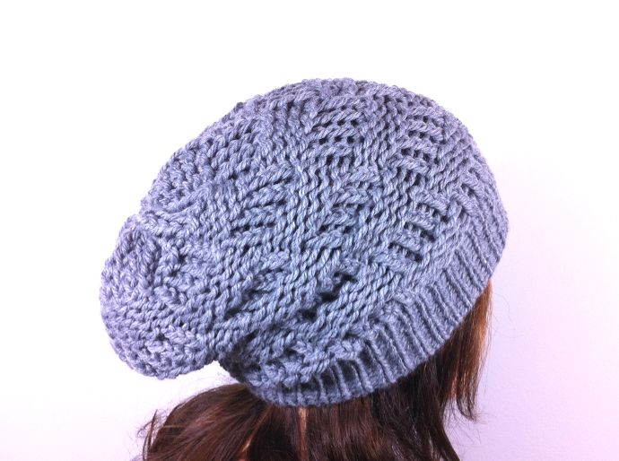Tutorial como tejer gorro punto canasta con telar circular slouchy beanie loom knitting