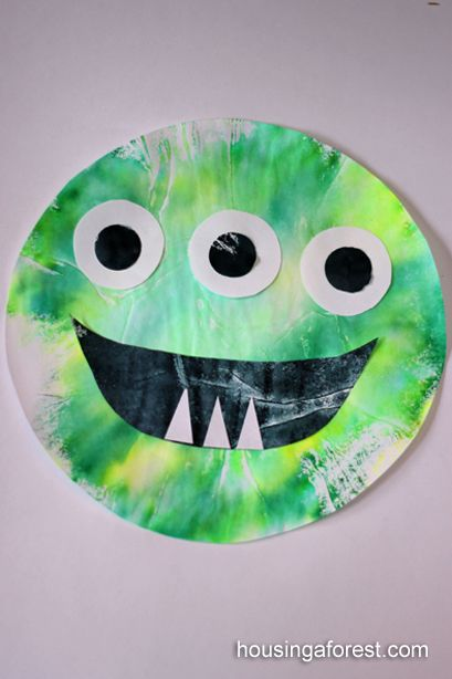 Monster craft. Large coffee filters, washable markers, spray bottle. Cut out circles for eyes, etc.