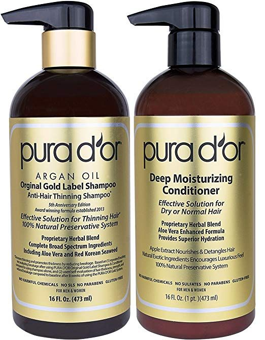 Amazon Com Pura D Or Original Gold Label Anti Thinning Shampoo Deep Moistur Deep Moisturizing Conditioner Moisturizing Conditioner Hair Shampoo Conditioner