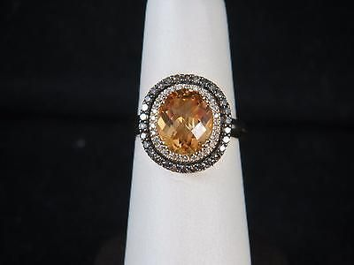 LeVian 14kt Chocolate & White Diamonds & Citrine Double Halo Ring sz 7