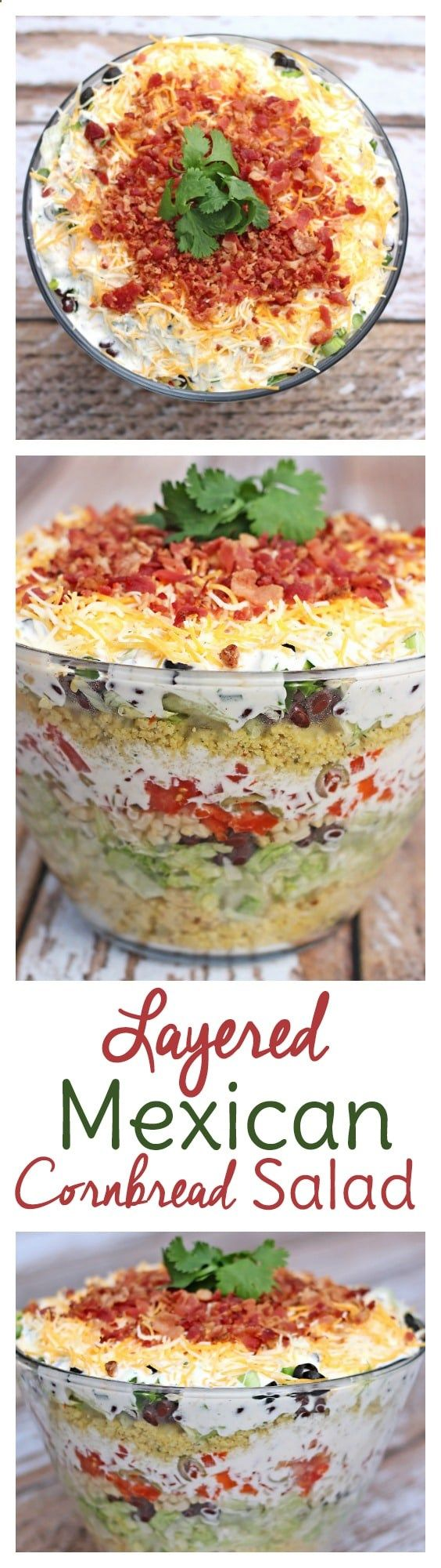 My aunts original recipe, this Layered Mexican Cornbread Salad Recipe is HUGE hit at potlucks. There are never leftovers!