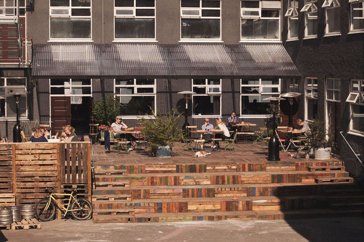 outdoor patio made with reclaimed wood...Kex Hostel: Reykjavik