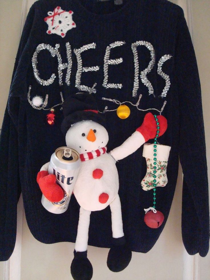 UGLY CHRISTMAS SWEATER MENS BOOZING SNOWMAN LIGHTS MUSIC JINGLE BELLS SONG SZ L #whocares #Crewneck