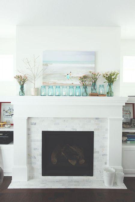 marble tile fireplace surroun - Google Search