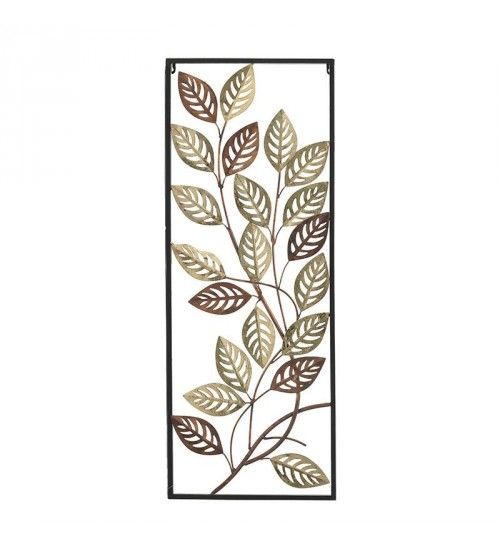 METALLIC WALL DECORATION 'LEAVES' IN GOLDEN_COPPER 33X3X88_5