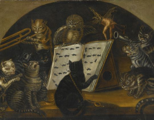 According to the auction house: Cats being instructed In the art of mouse-catching by an owl Looks more like: A cat orchestra directed by an owl, with sheet music made of little drawings of mice Oil on canvas, within a painted lunette, 83.5 by 110.5 cm Datecirca 1700 SourceSotheby's, Sale N08952 (New York, 2013-01-31–2013-02-01) AuthorLombard School