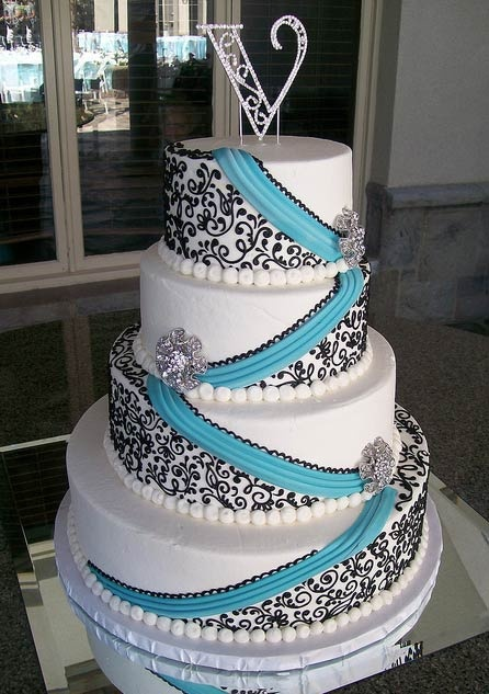 Four-Tier Black, White and Blue Wedding Cake - Wedding Cake Ideas... THIS