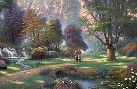 Walk of Faith - Thomas Kinkade - World-Wide-Art.com - $230.00 #Kinkade