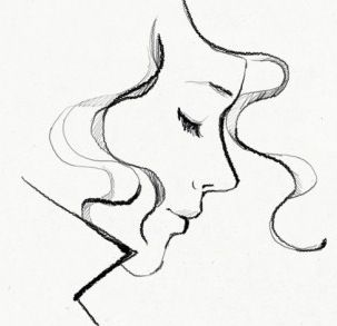 pretty sketch // garance dore // profile portrait // drawing // illustration of a woman