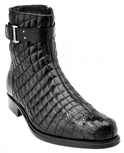 """Belvedere """"Libero"""" Black Genuine Alligator / Soft Quilted Leather / Leather Sole Boots 819"""
