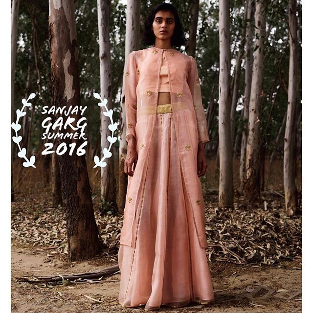 Blush pink jackets with light lehengas from Sanjay Garg's soon to be launched Summer 2016 collection for Bungalow 8.