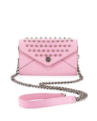 Studded Mini Wallet-on-a-Chain, Pale Pink (Stylist Pick!) at CUSP.