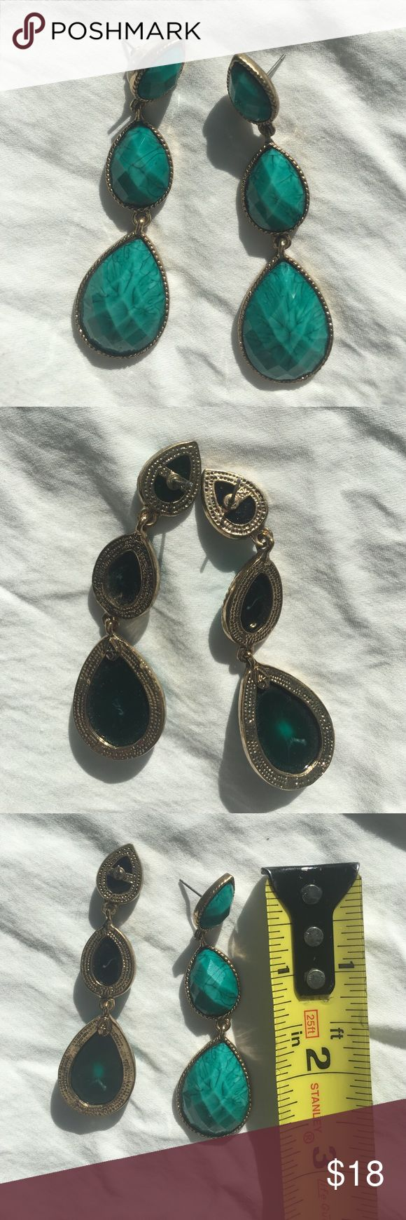 Amrita Singh statement earrings Beautiful turquoise green/blue color drop earrings. Amrita Singh Jewelry Earrings