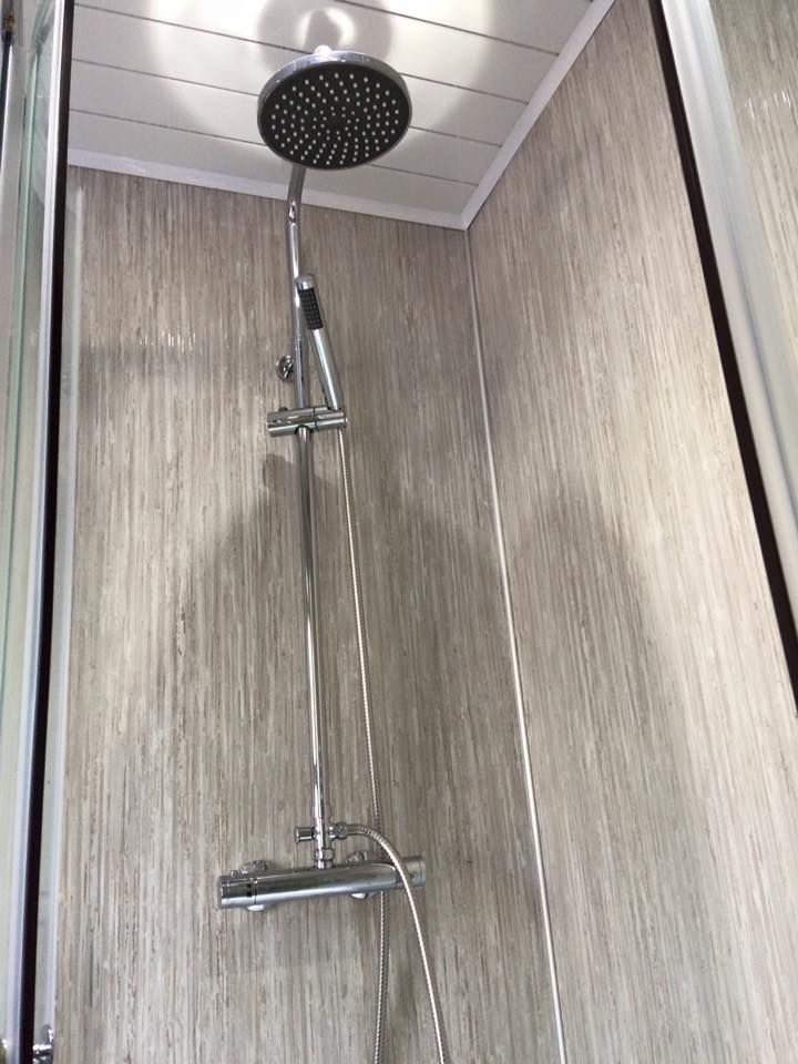 Bathroom installation using Silver Rain Selkie Board by Crombie Builders, Fife.Silver Rain WBP Plywood Shower Panel (2420mm x 1200mm x 11mm) Available from: https://www.rearo.co.uk/bathroom/selkie-board/silver-rain-wbp-plywood-shower-panel-2420mm-x-1200mm-x-11mm-23674/