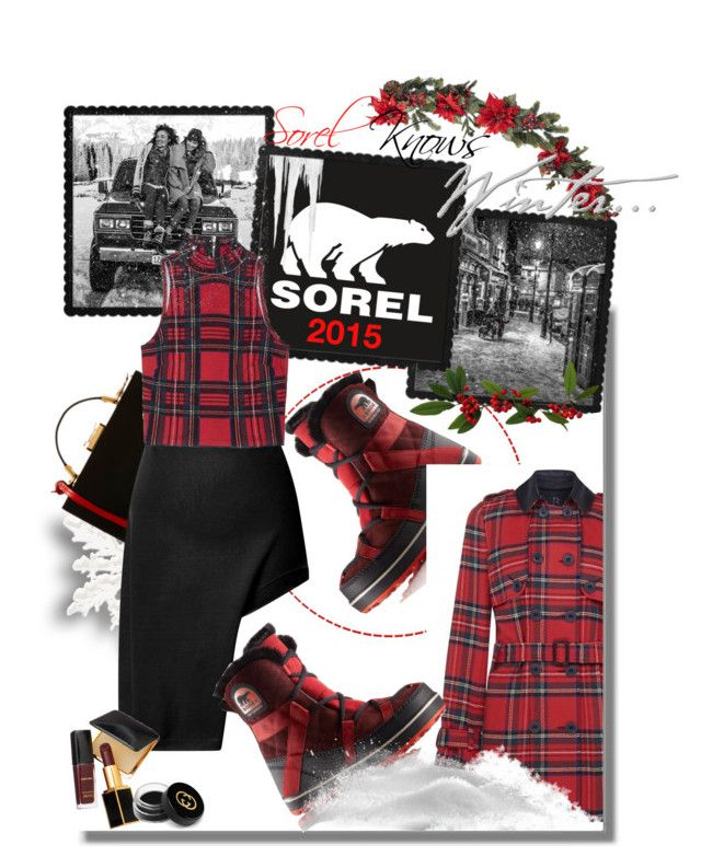 """Introducing the 2015 Winter Collection from SOREL: Contest Entry"" by iraavalon ❤ liked on Polyvore featuring Nearly Natural, SOREL, Rihanna For River Island, Mark Cross, Opening Ceremony, Tom Ford and Gucci"