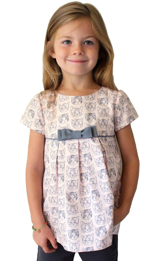 "The ""Mia and Moi"" Pattern, little girl's DRESS pattern OR girl's BLOUSE pattern, sewing pattern, sized to fit ages 3-8"