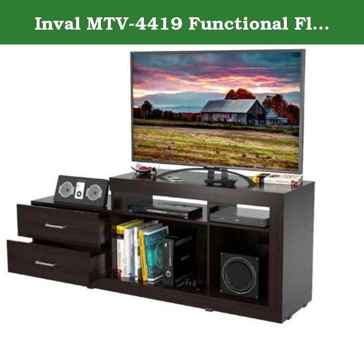 Inval MTV-4419 Functional Flat-Screen Tv Stand, 46-Inch, Espresso-Wengue. Modern design is an excellent choice for home. Laminated in double-faced durable melamine which is stain, heat and scratch resistant. Finished in Espresso-Wengue. Solid engineered wood P2 standard, coming from well managed forests. Accommodates flat-screen TVs up to 46 inches. Maximum TV weight: 58.2 lbs. Ample space for A/V equipment. Assembly Required.