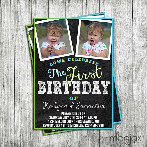 Twin Boys Birthday Invitation  DIGITAL by MadJaxDesignandPrint
