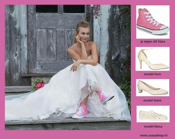 """Wat zou jij aan willen doen op je trouwdag? 💖Je eigen All Stars 💖 Hoge Hakken 💖 Comfortabele bruidsschoenen 💖 """"Nette"""" gympen https://www.xsasashop.nl/bruidsschoenen/"""