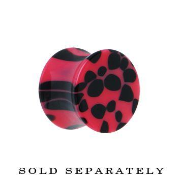 "1/2"" Pink and Black Animal Print Saddle Plug | Body Candy Body Jewelry"