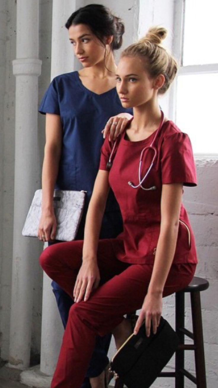 Jaanuu Scrubs Nurse Pinterest Sleeve Red And Scrubs