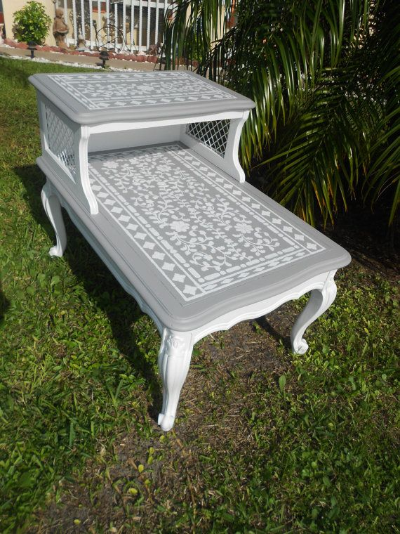 White and Grey Stenciled Two Tiered End Table by JilliannMae