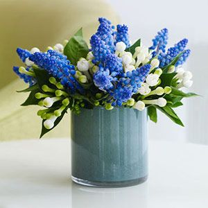 I love cut flowers!  A straight-sided cylinder vase or a water glass is just the right height for a tiny cluster of hyacinth and bouvardia.