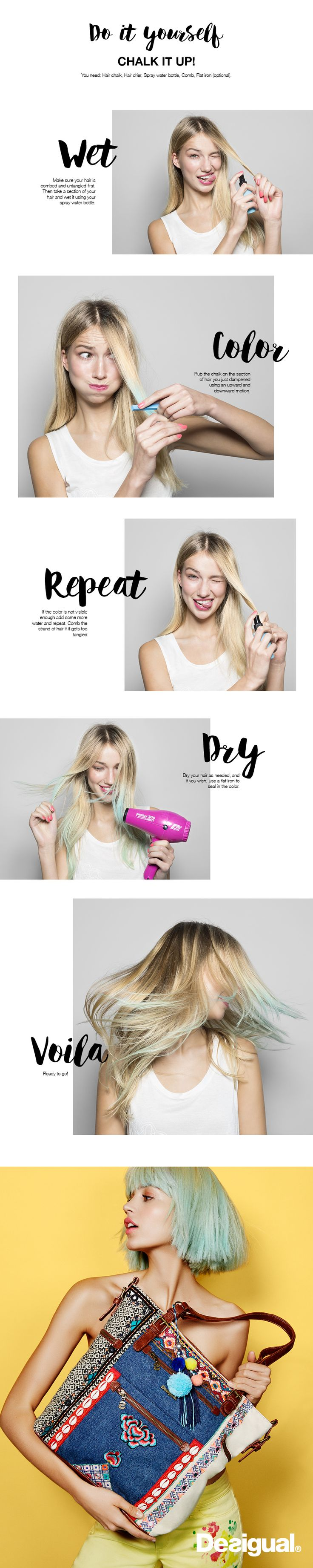 If you want to add some fun and funky colors to your hair without the permanence of a dye, then hair chalk is for you. We've seen it at fashion week and festivals and on some of our favorite celebs. One of the best parts about the chalked hair look is that you can change it easily and have almost an unlimited choice of colors. Instead of simply wearing your hair down try braiding different ways, curls, waves, buns and twists that can really make your colored strands stand out.