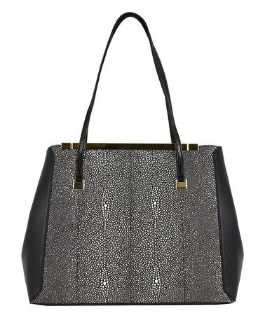 Love this Black Snake Embossed Framed Inez Tote on #zulily! #zulilyfinds