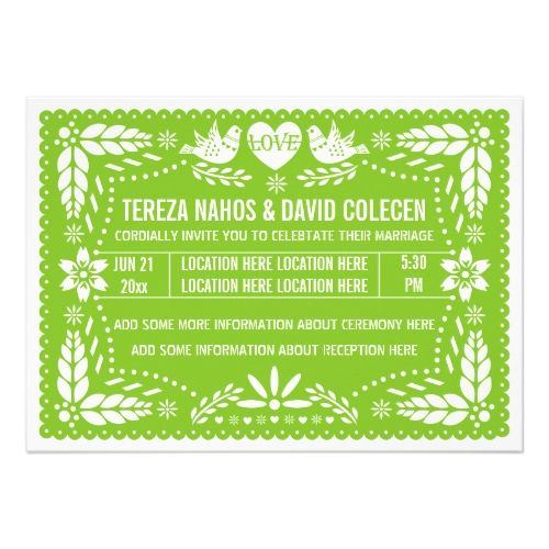Love Birds Wedding Invitations Papel picado love birds spring lime green wedding card