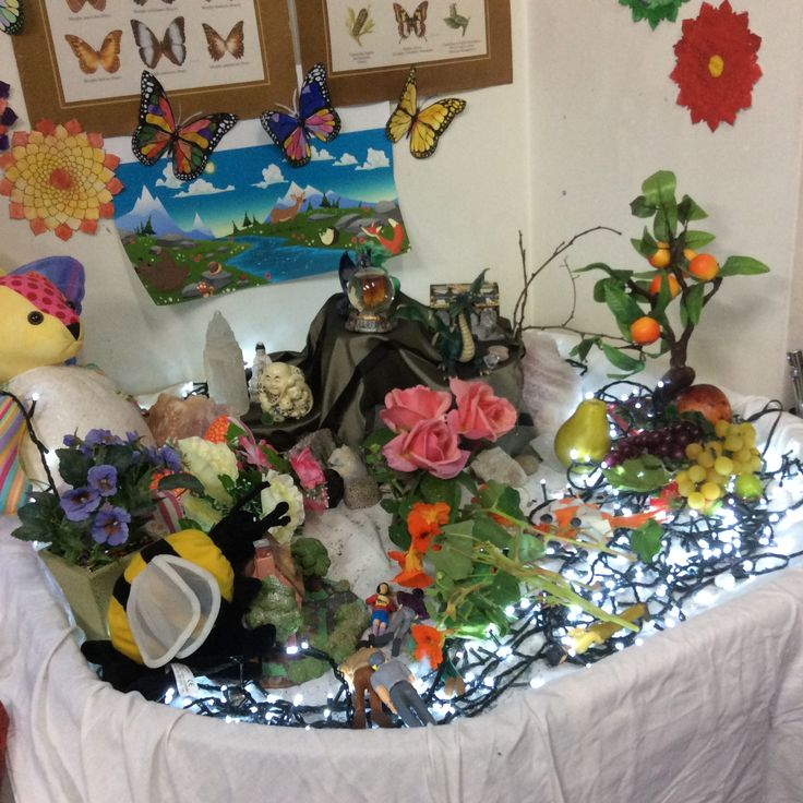 We decorate a seasonal tray with objects, pictures etc relating to the season and place small coloured lights on the tray. It provides a focus for our literacy work and the children LOVE it!