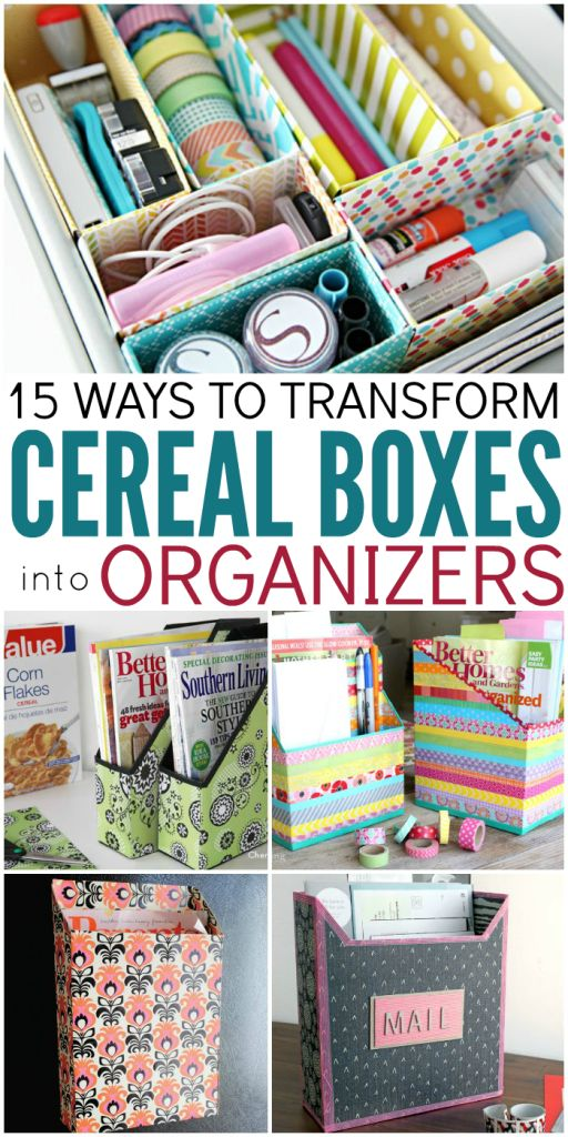 Cereal Boxes are common in many homes. But what do with them when they're empty? Here are some cute diy organization tips and ideas to recycle empty boxes.