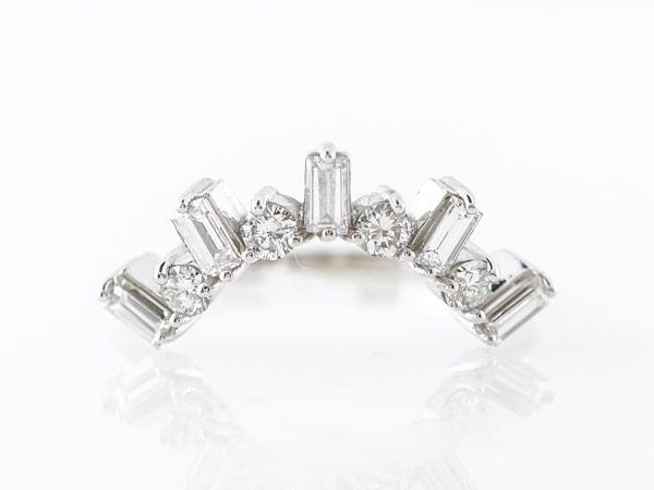 Details about  /14k White Gold Finish 1.00 Ct Marquise Cut Diamond Wedding Curved Band Ring