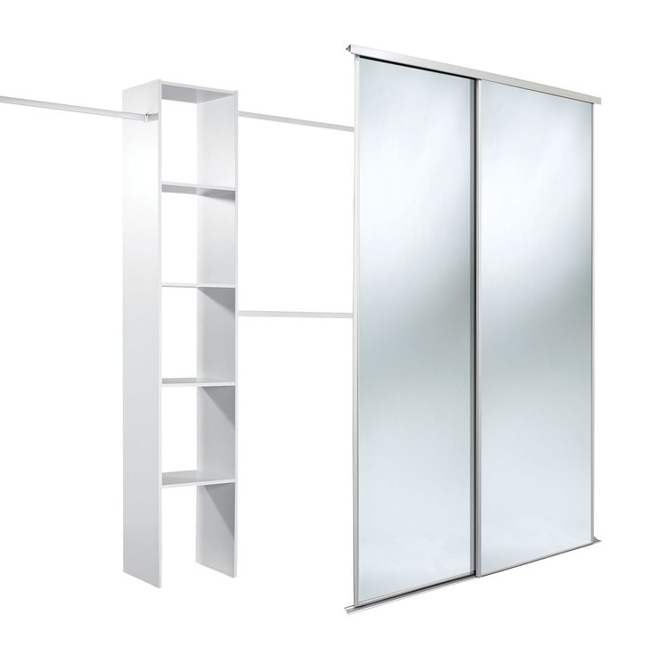 Traditional Full Length Mirror White Sliding Wardrobe Door Kit (H)2220 mm (W)1200 mm | Departments | DIY at B&Q