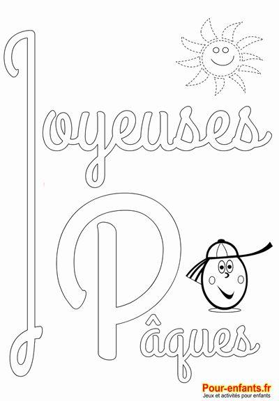 Joyeuses Pâques imprimer coloriage de PAQUES colorier les lettres en grand et un soleil