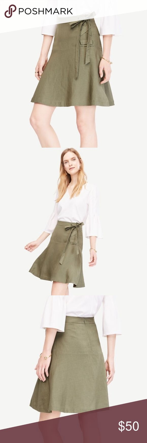 """Ann Taylor Linen Blend Lace-up Skirt Laced up with flattering side ties, this flared skirt is one of the freshest silhouettes. The color is olive green which is perfect for Fall as well as Spring and Summer. About 20"""" long. This skirt is in perfect condition and has never been worn, great for the upcoming season! Ann Taylor Skirts Mini"""