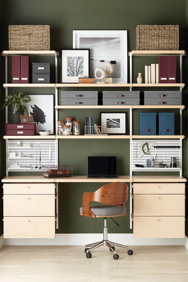 Elfa Decor Birch White Home Office Home Office Shelves Home Office Design Home Office Decor