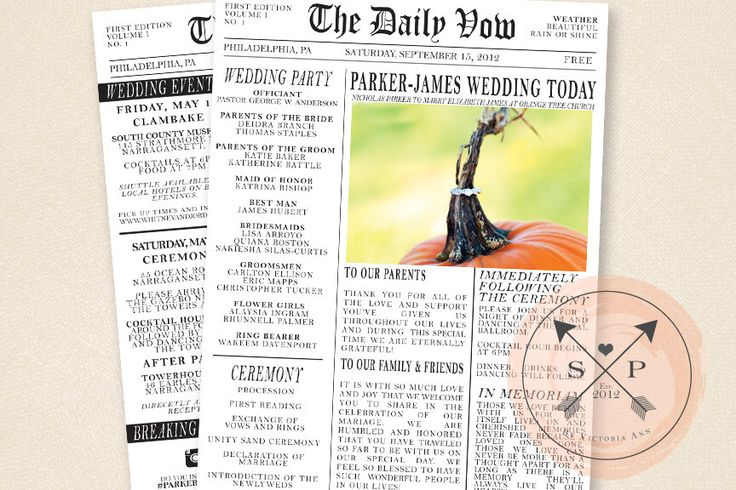 Printable Newspaper Inspired Wedding Program or Welcome Letter Design by SomethingPrintable on Etsy https://www.etsy.com/listing/104314830/printable-newspaper-inspired-wedding