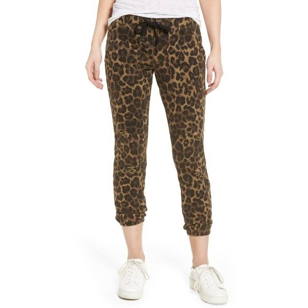 Women's Pam & Gela Distressed Leopard Print Sweatpants ($165) ❤ liked on Polyvore featuring activewear, activewear pants, ocelot, leopard print sweatpants, jogger sweat pants, brown sweat pants, cropped sweatpants and sweat pants