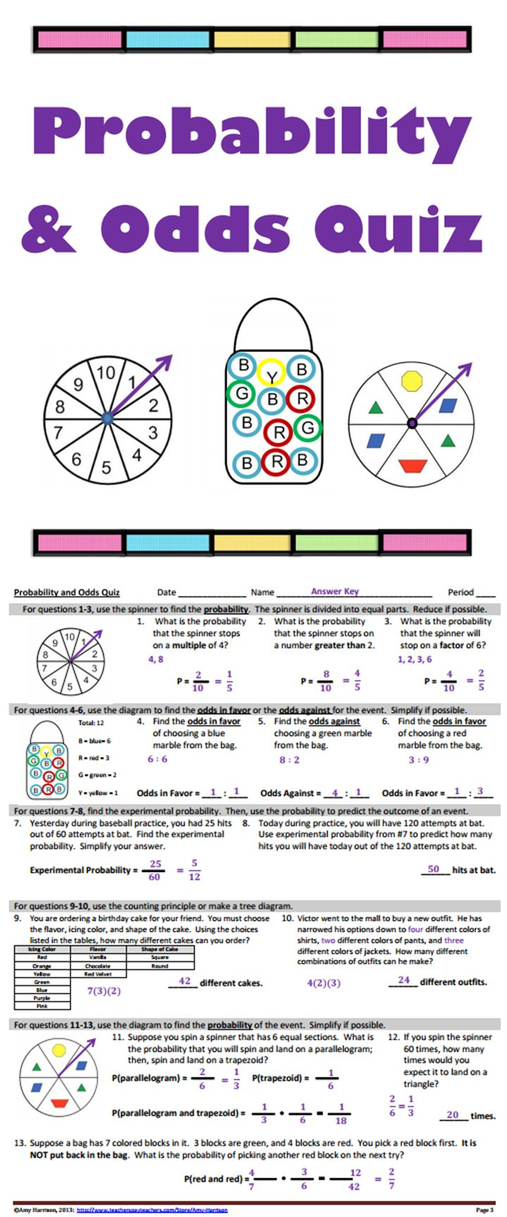 worksheet Experimental Probability Worksheets 17 images about school probability on pinterest trees math and odds quiz topics spin a spinner draw from
