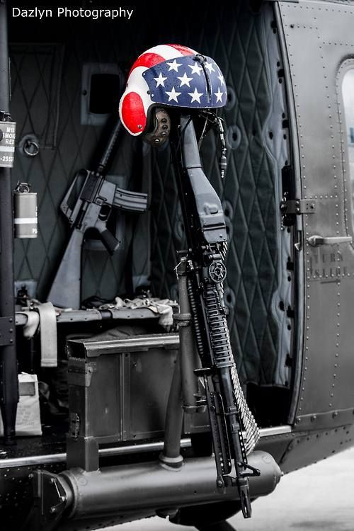 Door gunners position of a Vietnam veteran UH1 Huey helicopter.  Photo: Dazlyn Photography