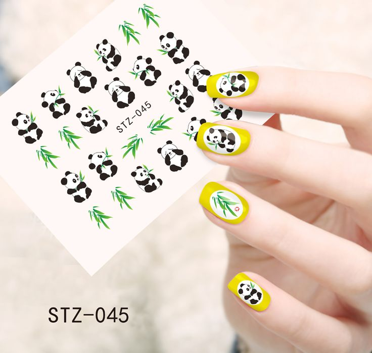 1pcs Cute Animal Panda with Bamboo Nail Stickers Water Transfer French Tips Wraps Decals on nails Decorations STZ045
