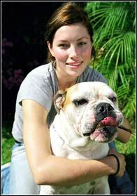 Famous people (Jessica Biel) + Dogs ... Brought to you in part by StoneArtUSA.com ~ affordable custom pet memorials since 2001