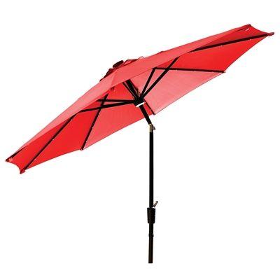 allen + roth 9-ft Market Tilt Umbrella with Solar LED Lights