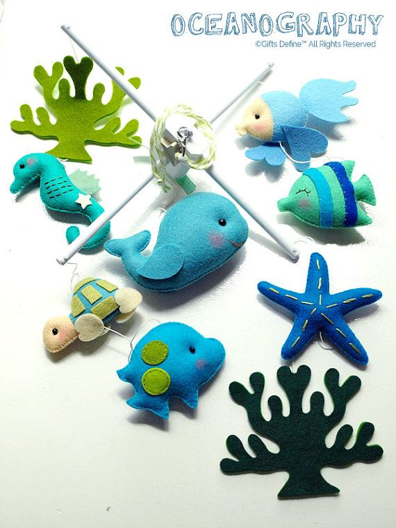 847 best felt sea and water creatures images on pinterest for Sea animal baby mobile