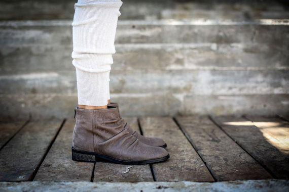 VENDITA stivali marroni stivali di pelle caviglia di abramey