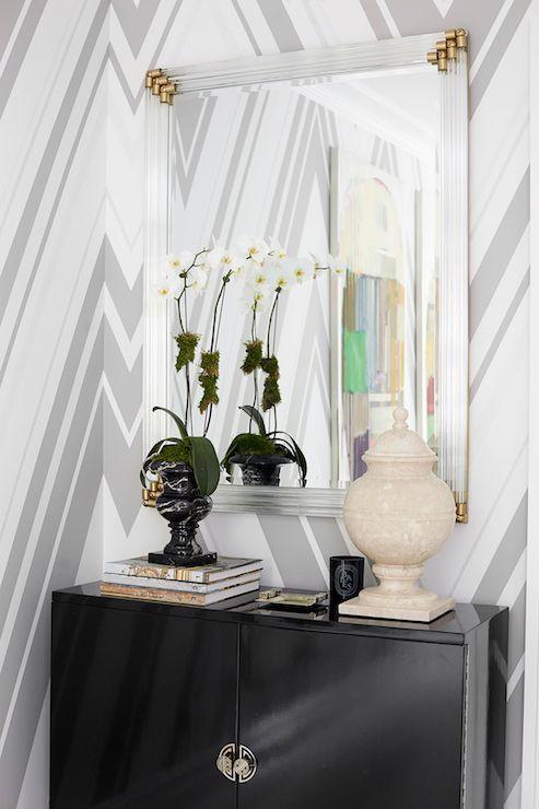 foyer // chevron wallpaper // Carlyle Designs #entry #foyers #wallpaper