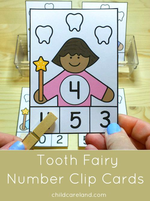 tooth fairy number clip cards for number recognition and fine motor development.